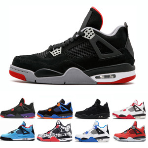 Баскетбол ботинок людей 4s Bred люди Трэвис Чистые деньги роялти белый цемент хищники татуировки черный кот огонь красные мужские кроссовки спортивные кроссовки