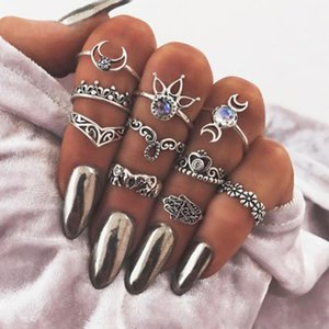 10PCS degli anelli dell'annata Imposta Boemia punk Elephant Moon Flower Corona Fatima hand anelli di cristallo Donne Beach Party Knuckle Rings Gioielli Set DHL