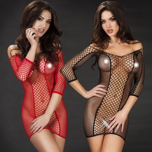Yue die Underwear pajamas ins underwear sexy middle sleeve hip-covered fishing net skirt perspective sexy pajamas 8953