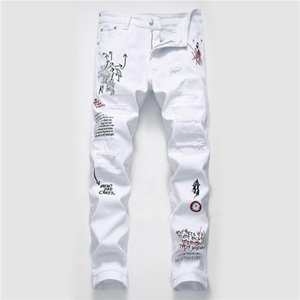Erkek Jeans Moda Graffiti Erkek Jeans Casual Fermuar Fly Erkekler Giyim Hole yazdır Yıkanmış yırtık