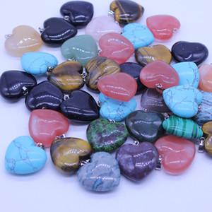 Coração natural de pedra Gemstone Pendants Polido solta pérolas prata banhado Gancho Fit pulseiras e colar do coração Bijuterias GGA3549-1