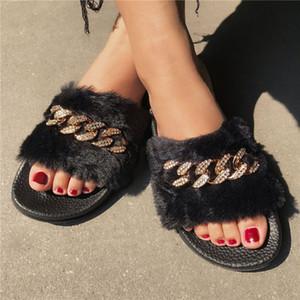 여성 울 체인 슬리퍼 네 가지 색상 홈 신발 미끄럼 방지 모피 슬라이드 귀여운 숙녀 귀여운 봉제 샌들 플랫 푹신한 신발 슬리퍼