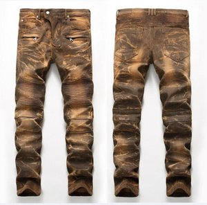 Única para hombre palideció Fold con paneles de jeans de moda del diseñador del pierna recta Slim Fit Motocicleta del motorista Rayado Pantalones vaqueros JB65012