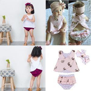 Schöne Baby Mädchen Sommer Kleidung Outfits Anzüge Cute Kid Mädchen Kaninchen Druck T-shirt Top Hose Stirnband 3 teile / satz