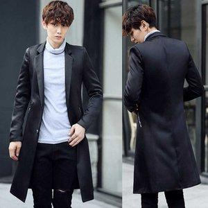 Новое поступление мода высокое качество весна и осень костюм воротник ветровка мужчины пальто длинная куртка повседневная размер MLXL XXL 3XL 4XL