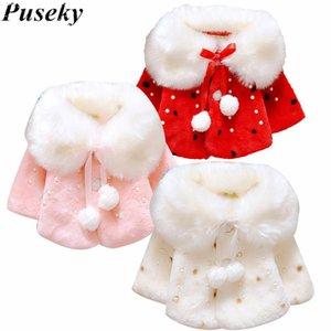 Puseky Kid Princess Sweet Girls Thick Warm Fur Baby Shawl Bridal Shrug Coat Winter 0-4Y Children Clothes Casual Lolita Jacket
