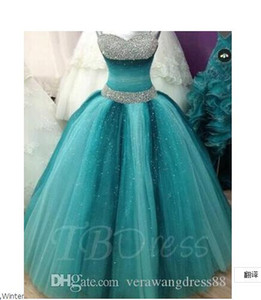 Spaghetti Straps Ball Gown Beading Floor-Length Quinceanera Dress prom