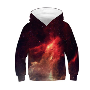 New Children Star Space Galaxy Hoodies Hooded Boy Girl 3d Sweatshirts Print Colorful Nebula Kids Fashion Pullovers Clothes
