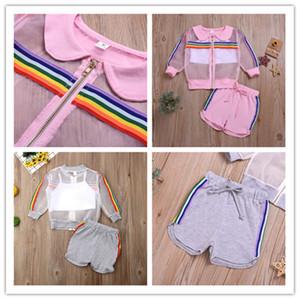 Yaz Çocuk Kız Güneş Koruma 3 adet Giyim Gökkuşağı Çizgili Zip ceketler ayarlar + Yelek + İpli Şort Kıyafetler Çocuk Giyim E22504 kırpma