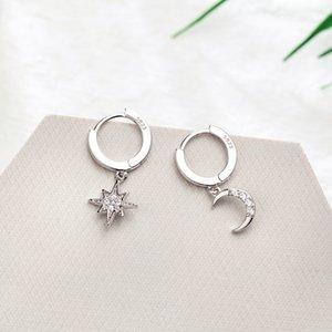 Star Moon Fashion Jewelry Ear Cubic CZ Zirconia Hoop Earrings Circle Asymmetrical Women 925 For Sterling Ring Earings Silver Rkgxx