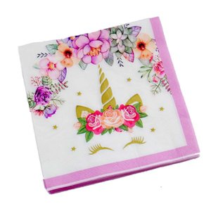 20 Yaprak / paket Unicorn Mutlu Doğum Günü Tema Parti Tek Kullanımlık Peçeteler Bebek Duş Doğum Günü Düğün Tema Parti Malzemeleri