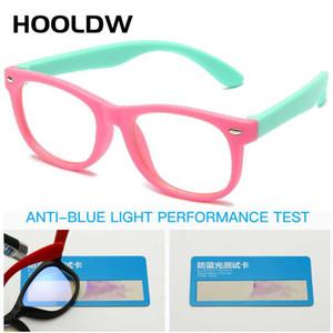 HOOLDW Karşıtı mavi Işık Çocuk Gözlük Çocuklar Kare Optik Çerçeve Eyeware Boy Kızlar Kare Bilgisayar Şeffaf Gözlükler UV400