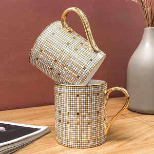 Diseño de lujo Noble mosaico taza de café caliente Ins Nordic Oro Pintura taza de cerámica 350ml tazas de agua