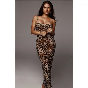 Womens Sexy Designer Leopardo Bodycon Vestidos Verão 2020 New Spaghetti Strap Moda Feminino Roupa Night Club Vestuário Casual