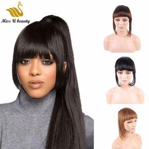 Pelo humano verdadero Bangs Negro Marrón Rubio Color de los pedazos del pelo Clip en / sobre las extensiones de pelo para las mujeres Bangs