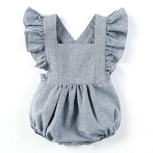 Triángulo linda niña de los mamelucos de la manga de Lotus respirable de lino de la niña de verano de la ropa del bebé de Onesie Boutique 19011604