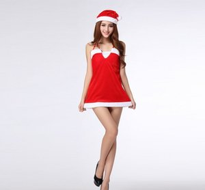 Free Shipping New sexy lingerie cosplay Female Christmas Costume Halloween Costume Red Christmas Costume Uniform Party Nightclub Show