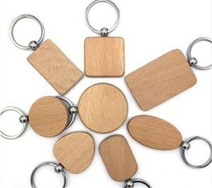 Personalizza Carino vuoto di legno portachiavi personalizzato inciso Portachiavi intaglio fai da te Rettangolo Piazza rotonda di cuore k0819