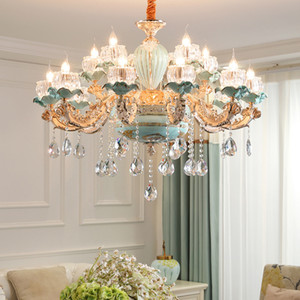 Nordic Chandelier brilho cristal azul Lustres cerâmicos Sala de jantar Luz de teto de cristal Bedroom Lamp Sala Chandelier