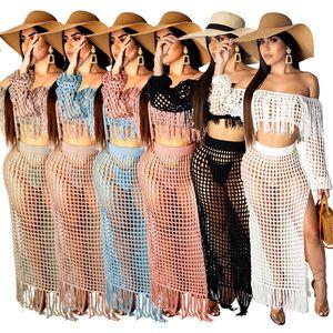 Neue Frauen-Bikini-Sex-Ausschnitt-Tassel Hips-Strand-Kleid Bluse Heiße Verkaufs-Strand-Art Wind-Badeanzug Bluse