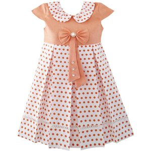 Girls Dress Polka Dot School Uniform Bow Tie Pearl Cap Sleeve 2020 Summer Princess Wedding Party Dresses Size 4-14 Carnival