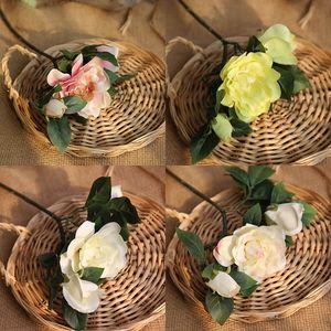 Seda artificial Gardenia flor planta flores de Rose Gardenia jasminoides flor artificial para la decoración del hogar de la boda 2019New