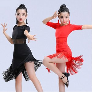Tassel Latin Dance Dress for Girl Fringe Salsa Tango Ballroom Rumba Latin Dance Skirt Kids Black Red Green Dancde Suit