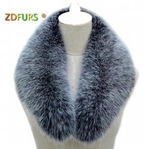 ZDFURS * Real fox fur Collar Women Shawl Wraps Shrug Neck Warmer Jacket Fur Collar Stole Natural fox fur Ring scarves C18112001