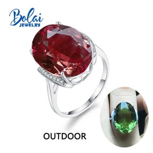 Bolaijewelry,zultanite Rings 925 Sterling Sliver Created Color Change Gemstone Oval 13*18mm 12.1ct Elegant Design Birthday Gift J190707