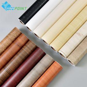 0.6x3M autoadesivo Madeira Wallpaper Móveis Renovação Stickers Bath Tile parede de PVC impermeável Papel Para Cozinha Casa de banho