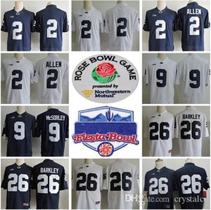 Penn State Nittany Lions College #26 Saquon Barkley 2 Marcus Allen 88 Mike Gesicki 9 Trace McSorley No Name Navy Blue White Football Jerseys