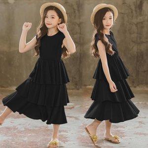 Filles gâteau robe d'été élégante princesse ados Girl Party Frock enfants coton manches robes de soirée noire 3 Layer Cake