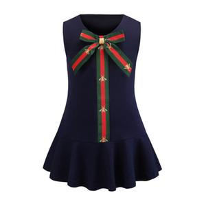 Kızlar Elbiseler Bebek Moda Arılar baskılı şerit Yaylar kravat yelek elbise çocuklar giysi tasarımcısı çocuklar yuvarlak yaka falbala prenses elbise Z11