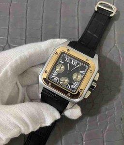 Takvim En Kaliteli Lüks Kuvars izle GÜN TARİH ile Kronometre Erkekler Saatler tam fonksiyonel izle deri çerçeve kelebek saatı mens