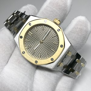 Lusso nuovo progettista vigilanza di modo 33 millimetri signora royal oak quarzo movimento al quarzo vetro d'orologio zaffiro oro