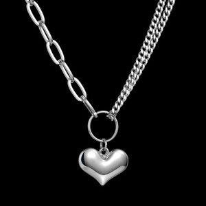 New style Double layer Stainless steel Necklace Fashion Charm Punk Necklace LOVE Pendant Women Men As Gift Hip hop Jewelry Free shipping