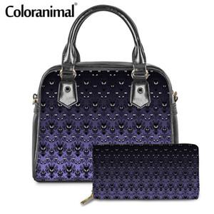 Coloranimal الأزياء أنثى 2pcs / set لPU انثي كتف حمل حقائب محفظة مسكون قصر مطبوعة السيدات CROSSBODY حقيبة