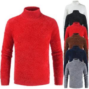 Роскошь Mens Сплошной цвет свитер моды Тонкий Нижняя рубашка зима Дизайнер пуловер свитер