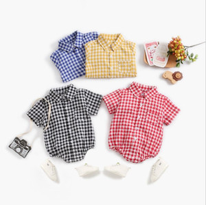 Baby Girl Clothes Plaid Toddler Girls Rompers Lattice Infant Boy Shirts Jumpsuits Short Sleeve Children Playsuits Summer Baby Clothing D5536