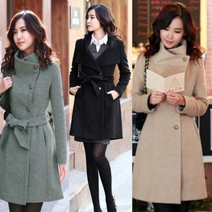 Trench lungo da donna elegante in stile coreano Slim Winter Noble CGU 88
