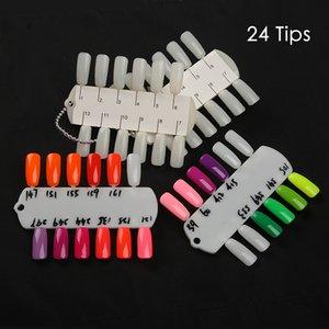 24 Dicas Gel Polish Color Display Mostrando Titular Shelf Cartão Double Side Amostras Nail Art Mão Formação suporte da amostra prego Palette