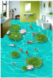 Custom photo wallpaper for walls 3 d flooring mural wallpapers 3D pond lotus leaf nine fish wishful floor painting Wall Sticker