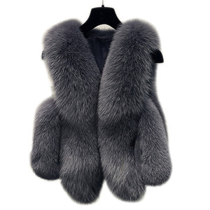 Winter-Pelz-Weste-Frauen-Jacke 2018 Mantel starke warme Faux-Pelz-Weste-Oberbekleidung Damen Mantel weiblich plus Größe 3XL