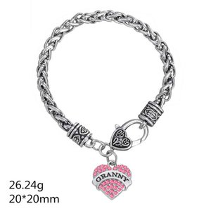 BTT23 Кристалл в форме сердца с родиевым покрытием. Кулон с гравировкой. Браслет GRANNY and BASKETBALL.