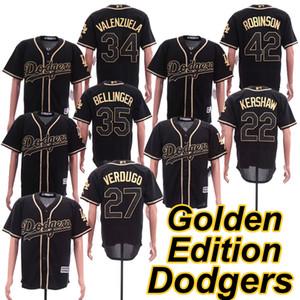 Schwarz Golden Edition Jersey 35 Cody Bellinger 42 Jackie Robinson Alex Verdugo Fernando Valenzuela Clayton Kershaw 2019 Majestic Trikots