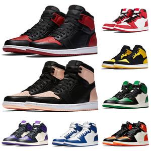 Nike Air Jordan 1 Jumpman 1 Männer Frauen-Basketball-Schuhe 1s purpurnen Farbton Gebannt New Love Schatten Royal Blue Turnschuh-Trainer Bred
