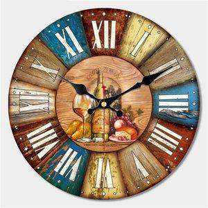 Vintage Plats Conception Grande Horloge Murale Creative Silent Home Cafe Cuisine Horloges Murales Montres Décor À La Maison Rétro Horloges Murales Art