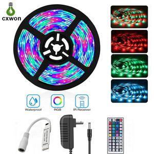 LED Şerit Işıklar 5M / Rulo 30LEDs / Adaptörü ve Mini Denetleyici ile M IP20 IP65 5050SMD RGB LED Şerit Seti