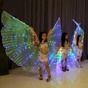 Meninas LED Belly Luz traje da dança da borboleta Asas para Crianças Oriental Bellydance Acessórios dança Desempenho