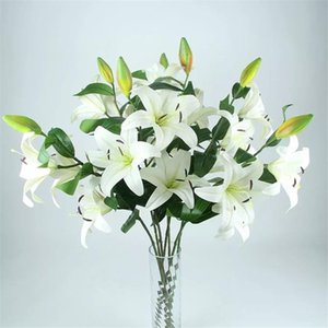 "Fake Long Stem Latex Lily (3 heads piece) 39.37"" Lenhth Simulation Real Touch Lily for Wedding Home Decorative Artificial Flowers"